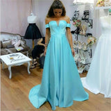 Simple Blue Satin Long Off Shoulder A-line Prom Dress ,  Evening Dress , PD0286