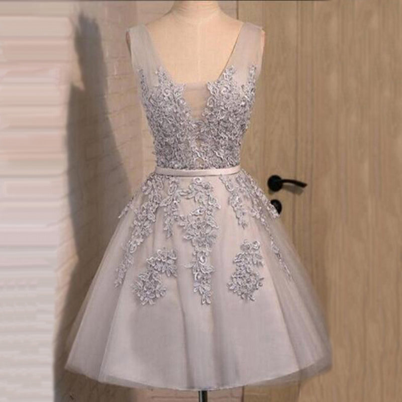 Off shoulder Grey lace Cute Tulle homecoming prom dresses, CM0023