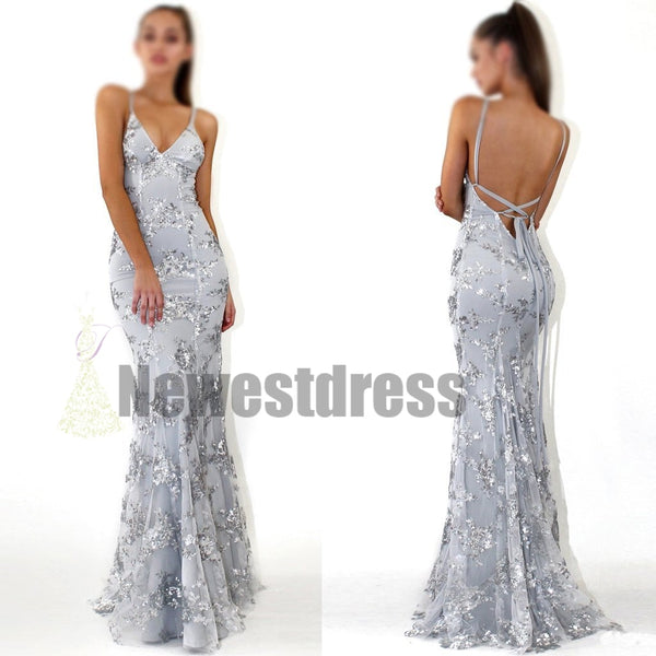 bc82a6e32d5 2018 Charming Chaep Sequin Silver Sparkly Mermaid Popular Newest Prom  Dresses Fashion Gown Evening