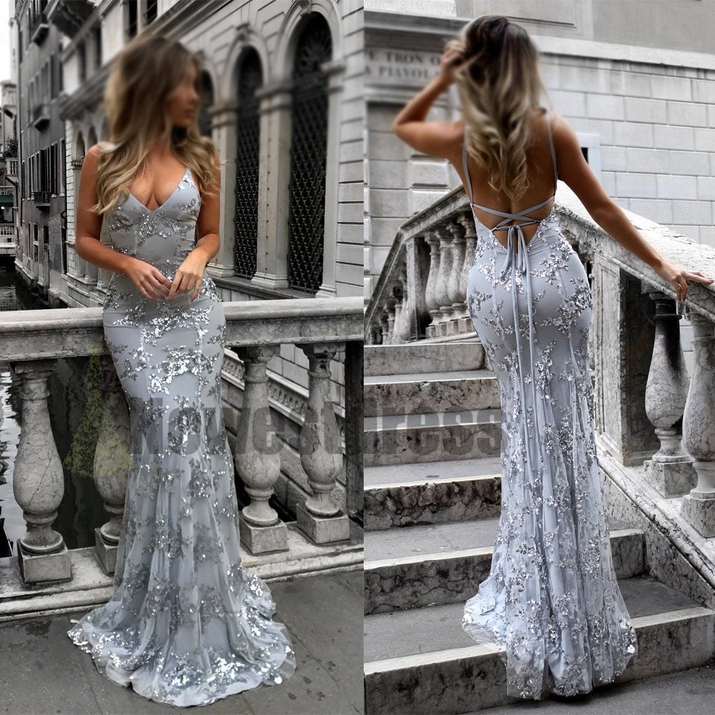 58be7f6ac41 2018 Charming Chaep Sequin Silver Sparkly Mermaid Popular Newest Prom  Dresses Fashion Gown Evening