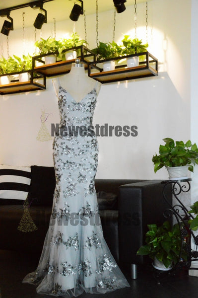 2018 Charming Chaep Sequin Silver Sparkly Mermaid Popular Newest Prom Dresses Fashion Gown Evening