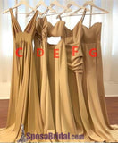 2019 A-line Elegant Sexy V Neck Gold Long Modest Bridesmaid Dresses with Side Slit, Popular Wedding Party Dresses ,WG296