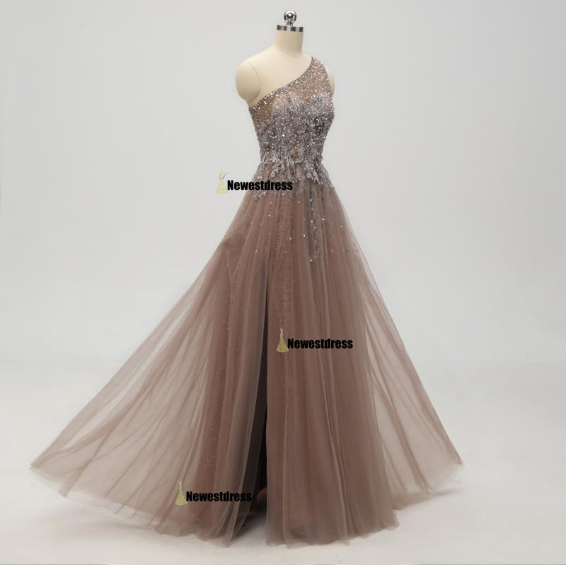 2019 One Shoulder Sparkly Side Split Elegant Modest Free Custom Prom Dresses, Evening Dress, PD0292