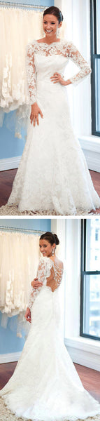 Round Neck Backless White Lace Sexy Mermaid Wedding Party Dresses, Long Sleeve Wedding Gown ,WD0023
