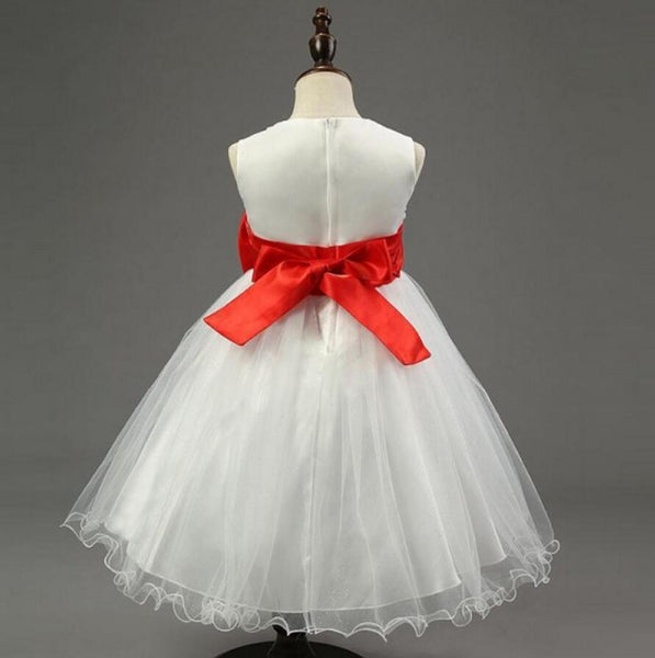 Ivory Online Princess Flower Girl Dresses, Weding Little Girl Dresses with Pink Bow, FGS024
