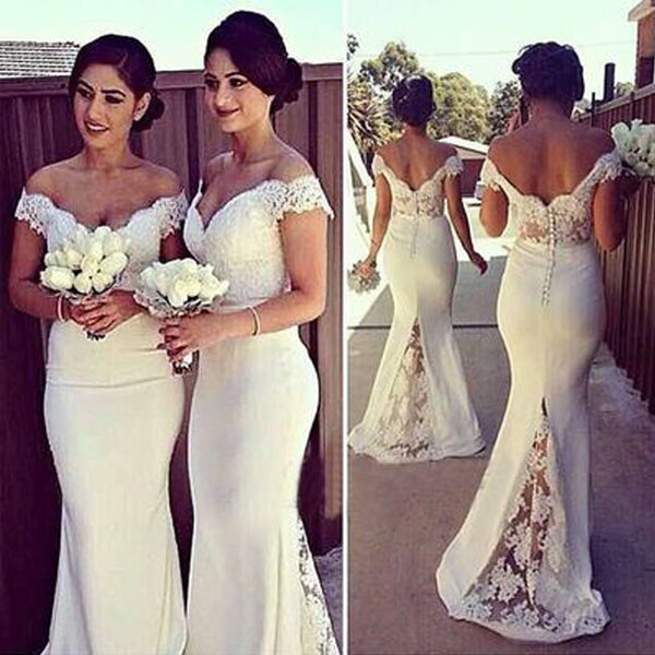 2017 Charming White Long Cap Sleeve Lace Mermaid Sexy Long Bridesmaid Dresses, WG10