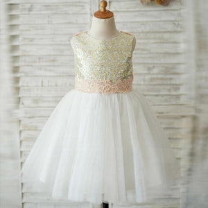 Lovely Lace Sleeveless  Open Back Sequins Tulle Flower Girl Dresses With Bow Sash, FGS028