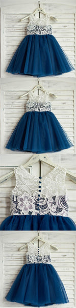 Top Lace Tulle Sleeveless Zipper Back Lovely Pretty Flower Girl Dresses , FG0085