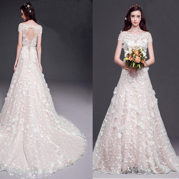 2017 Long A-line Scoop Cap Sleeve Lace Wedding Dresses, Open Back Cheap Bridal Gown, WD0002
