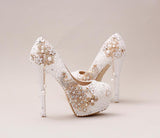 Handmade High Heels Round Toe Pearls Crystal Wedding Shoes, S0038