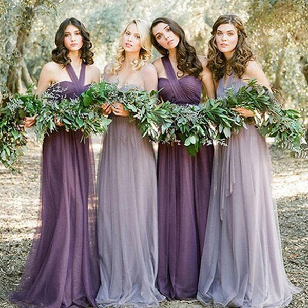 2017 Convertiable Mismatched Tulle Long Wedding Party Dresses Cheap Charming Bridesmaid Dresses, WG34