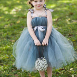 Dusty Blue Pix Tutu Dresses, Tulle Flower Girl Dresses, Cheap Little Girl Dresses for Wedding, FG046