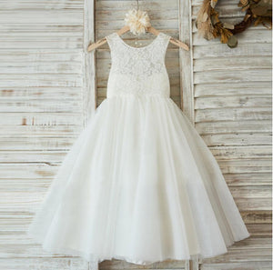 Lovely Princess Off White Lace Tulle Sleeveless Round Neck  Flower Girl Dresses, FGS035