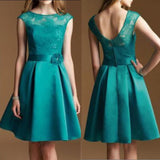 Junior Cap Sleeve Lace Top Satin Teal Green Knee-Length Inexpensive Bridesmaid Dress, WG37