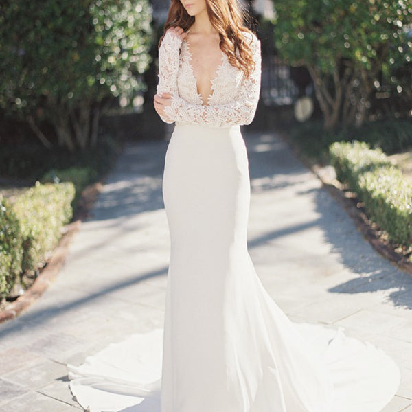 2017 Sexy Deep V-Neck Lace Top Mermaid Wedding Party Dresses, long sleeve wedding gown ,WD0038
