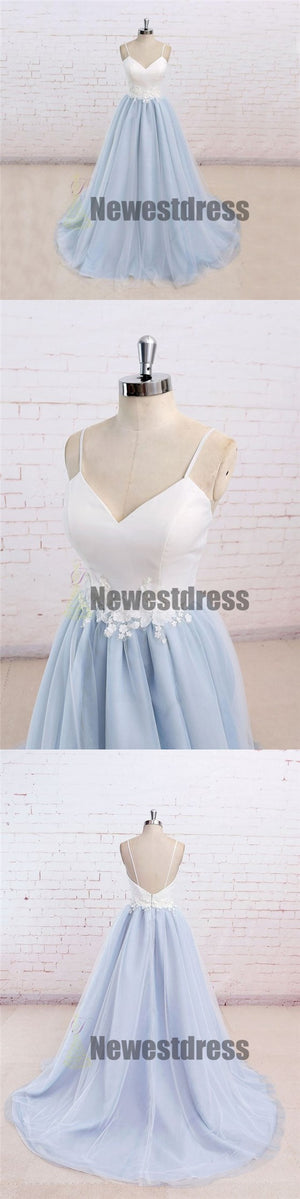 Spaghetti Straps V-Neck Simple White Prom Dress, Cheap Custom Bridesmaid Dresses, PD0301