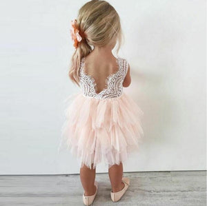 Pink Lace Tulle Flower Girl Dresses, Lovely Tutu Dresses, FGS003