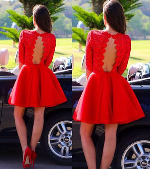 Red Sexy Long sleeve open back lace homecoming prom dresses, CM0002