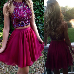 Short  red two pieces beaded halter lovely freshman charming homecoming prom dress,BD0042