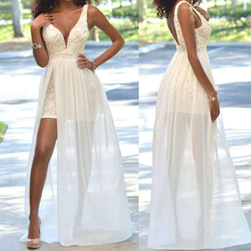 Cheap Popular Simple Ivory Lace Side Slit Chiffon Wedding Party Dresses, WD0048