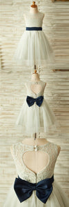 Ivory Beautiful Lace and Tulle Sleeveless Scoop Cheap Flower Girl Dresses with Bow, FG0087