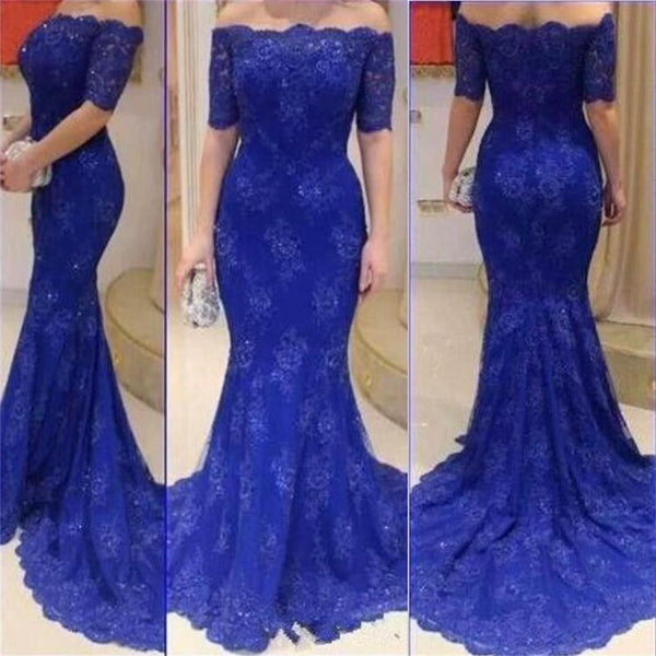 Long Royal Blue Short Sleeves Off Shoulder Mermaid Lace Sexy Formal Evening Prom Dress ,PD0246