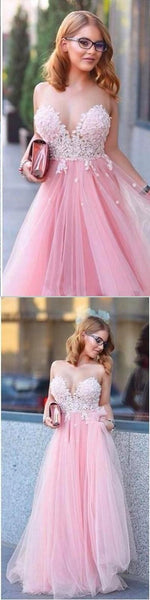 New Pink Lovely Long Tulle Hot Sale Lace Appliques Prom Dresses, Evening Dresses, Party dresses, PD0322