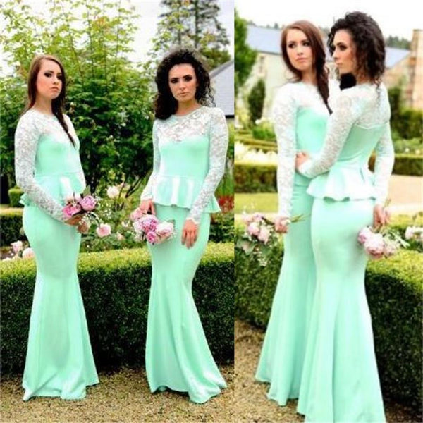 2017 Mint Mermaid Long Sleeves New Design Custom Bridesmaid Dresses  ,WG201