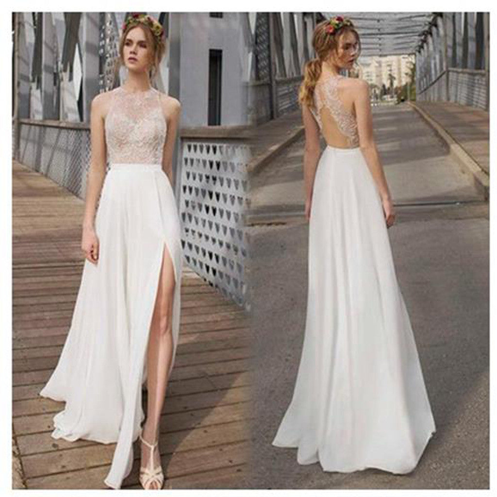 Charming Beautiful White Side Split Charming Bridesmaid Prom Dresses, Cheap Beach Wedding  Dress, WG65