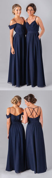 2019 Mismatched Different Styles Chiffon Navy Blue  Formal Cheap Sexy Bridesmaid Dresses, WG52