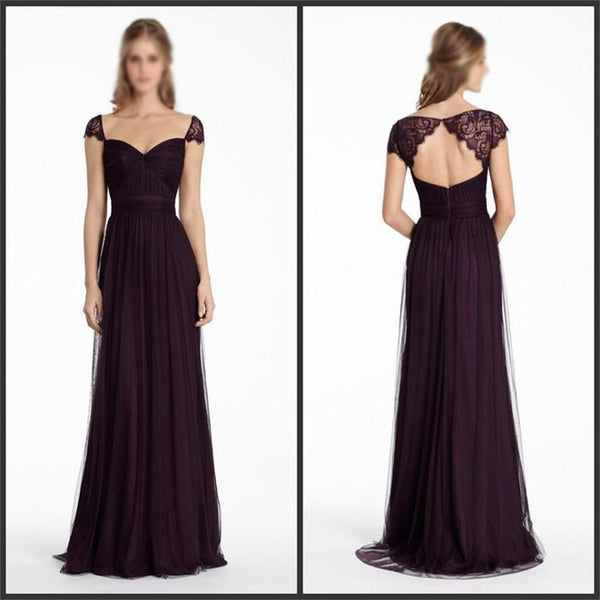 Most Popular Cap Sleeves Chiffon Cheap Open Back Bridesmaid Dresses, Party Dress,  NDBD0005