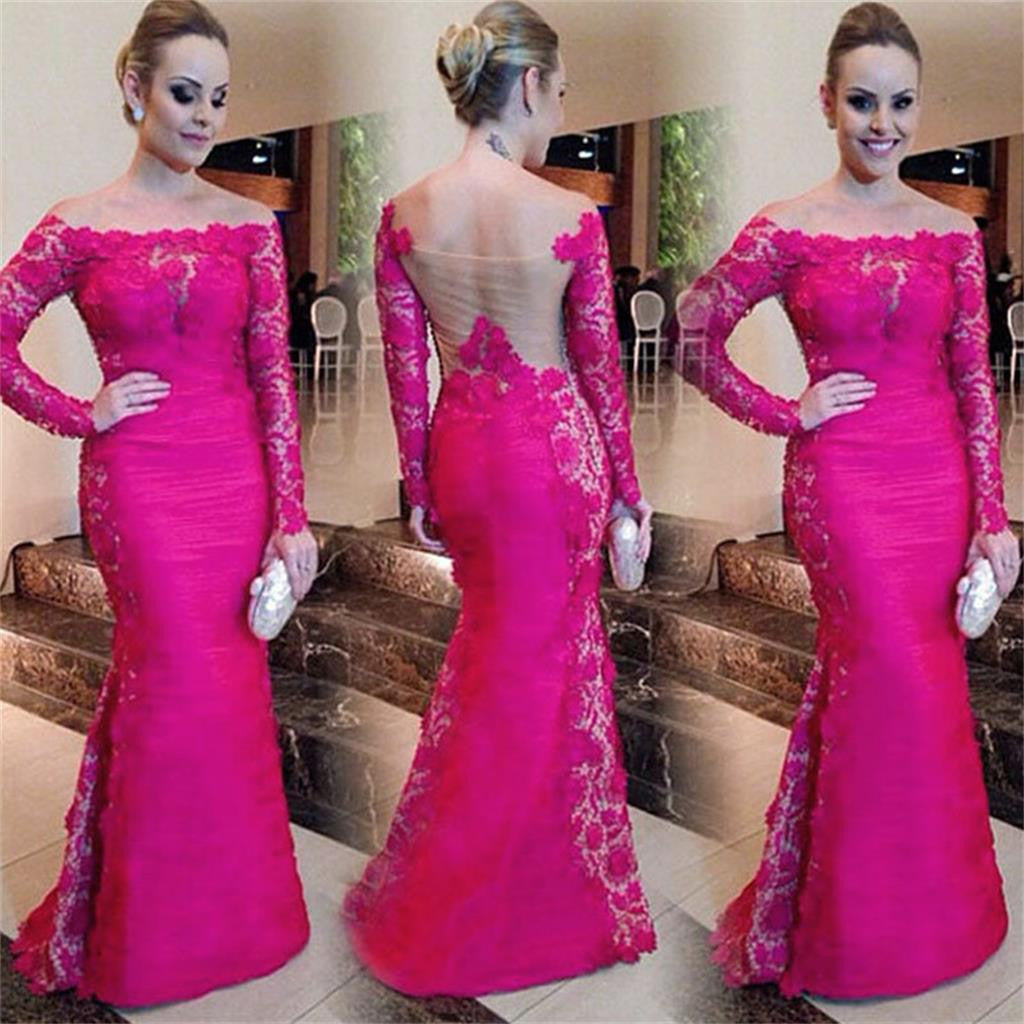 Red Lace Mermaid Off Shoulder Long Sleeves Elegant Prom Dress, Party ...