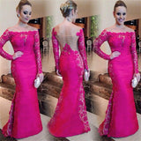 Red Lace Mermaid Off Shoulder Long Sleeves Elegant Prom Dress, Party Evening Dress, NDPD0025
