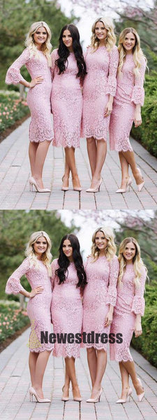Full Lace Pink Short Scoop Long Sleeves Bridesmaid Dresses, Custom Cheap Bridesmaid dress,PD0325