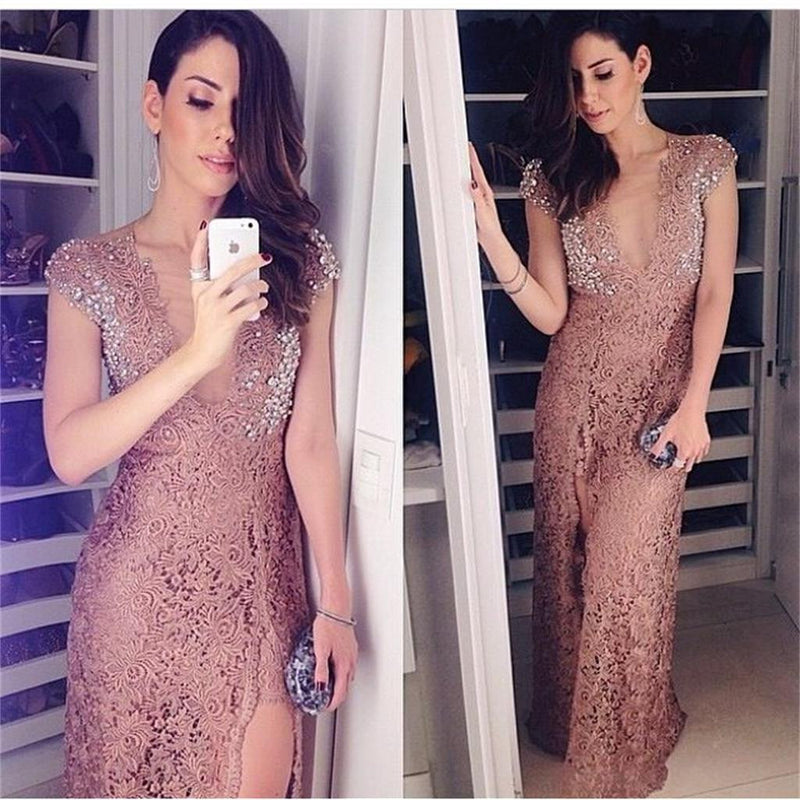 Unique Design Lace Cap Sleeves Side Slit V-Neck Sexy  Evening Prom Dress, Party Dresses Online, NDPD0013
