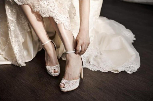 See through Ivory Lace Women's High Heels Fish Toe Wedding Shoes, S009