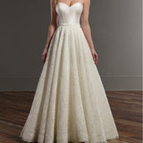 Long A-line Ivory Sweetheart Simple Design Lace Wedding Party Dresses, Cheap Bridal Gown, WD0090