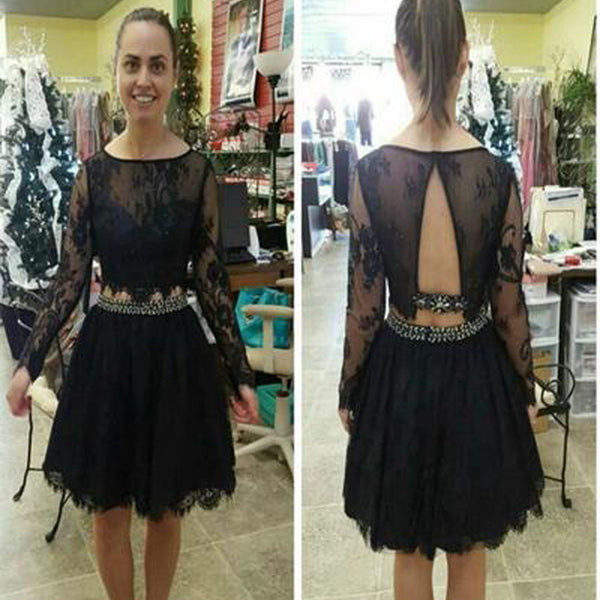 Black long sleeve lace simple see through sexy casual homecoming prom dress,BD0092