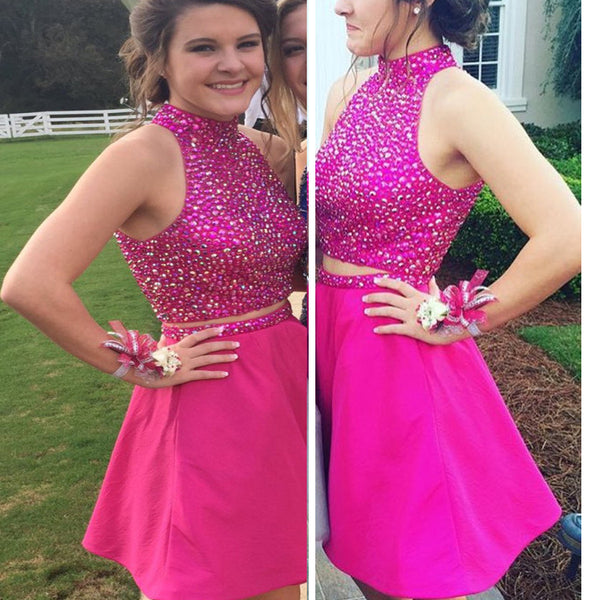 Rose red halter beaded two pieces Boho freshman casual homecoming prom dress,BD0097