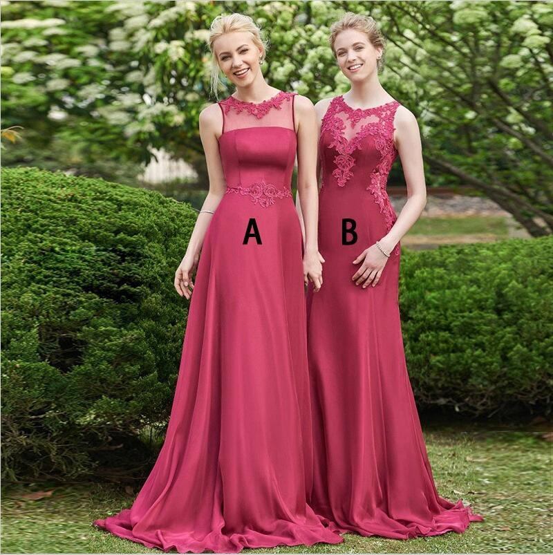A-Line Cheap Chiffon Modest New Sleeveless  Dark Red Bridesmaid Dresses with Appliques, WG260