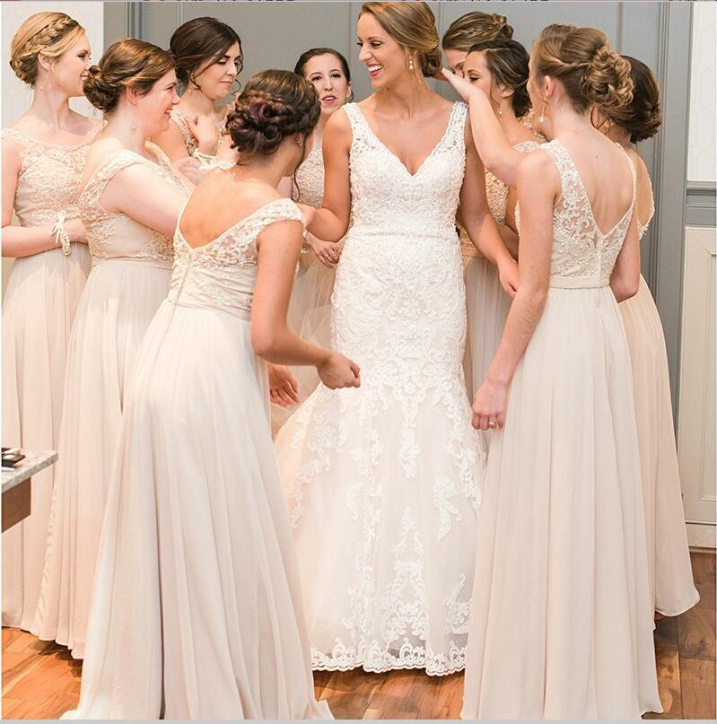A-Line Chiffon Cheap Top Lace V-Back Scoop Long Peach Modest Unique Newest Bridesmaid Dresses , WG262