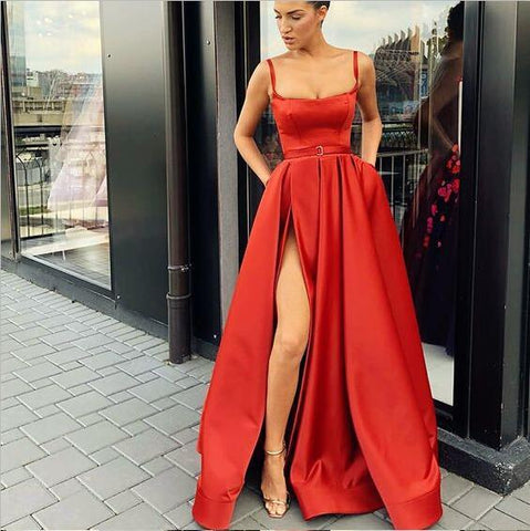 products A-Line Custom Elegant Spaghetti Straps Sweep Train Split Front Red Prom Dresses with Belt 2.jpg 87a422134