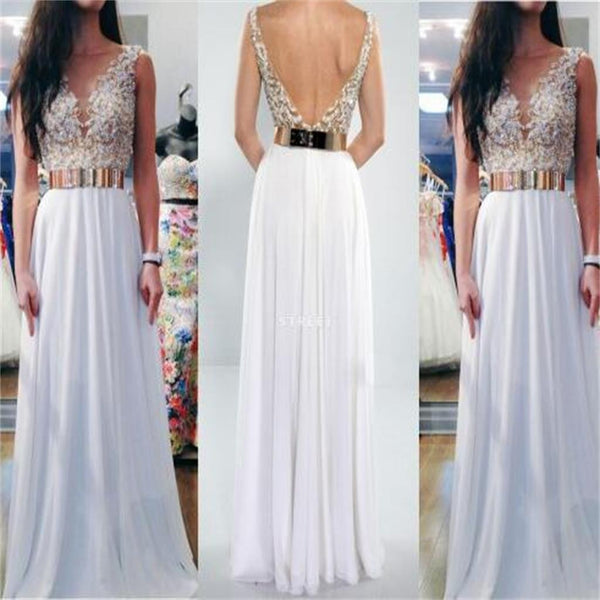 White V- Back Long Cheap  Charming  Party Evening Prom Dresses Online,PD0108