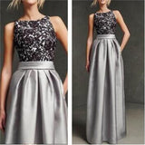 Gray Long Sleeveless Simple Black Lace Elegant Unique Pretty Prom Dresses Online,PD0121