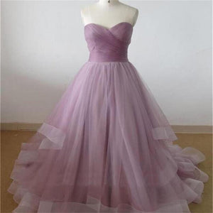 Lilac Sweetheart A-line Cheap Party Evening Long Organza Prom Dresses Online,PD0125