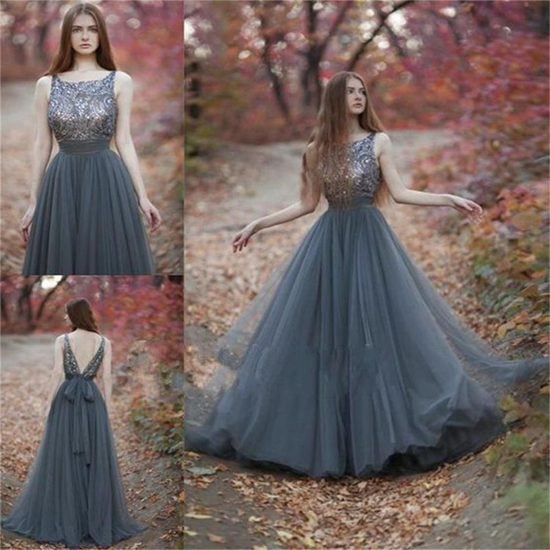 V-Back Tulle Gray Charming Popular Pretty Evening Long Prom Dresses Online,PD0140