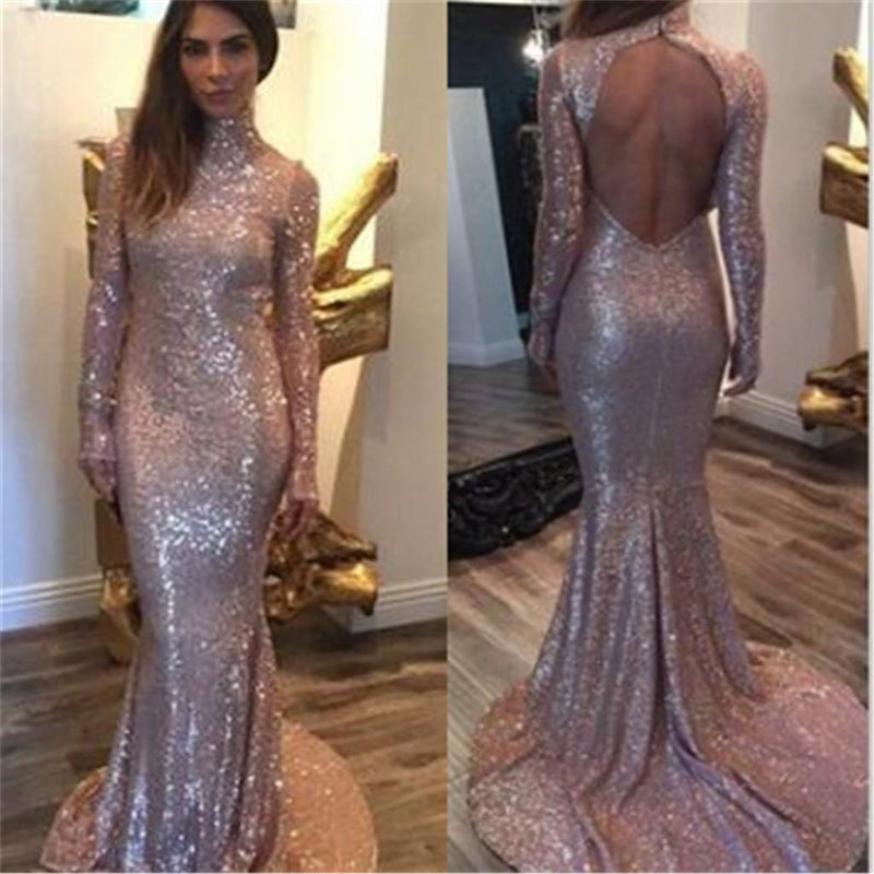 Long Sleeves Sequined High Neck Open Back Party Cocktail Evening Long Prom Dresses Online,PD0174