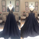Deep V-Neck A-line Elegant Custom Party Cocktail Evening Long Prom Dresses Online,PD0198