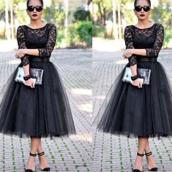 Lace Black A-line Long Sleeves Evening Party Affordable Prom Dresses,PD0039