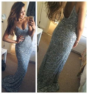 Spaghetti Straps Sexy Mermaid Open Back Custom Evening Long Party Prom Dress,PD0057